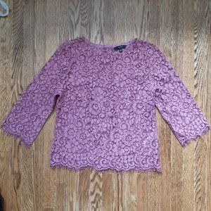 3/4 sleeve lilac lace top